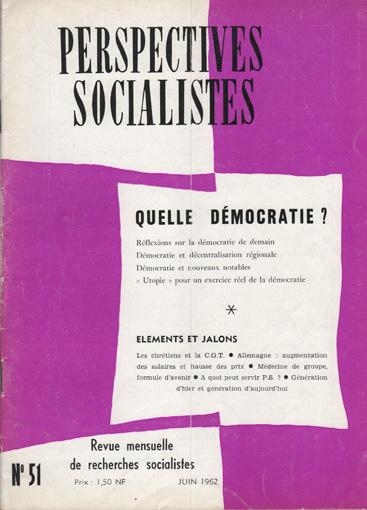 Couverture Perspectives Socialistes N°51, Juin 1962