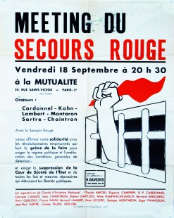 Meeting du Secours Rouge... Cardonnel - Kahn - Lambert - Montaron - Sartre - Chaintron...
