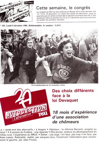 Couverture 2A N° 155, 8 Décembre 1986